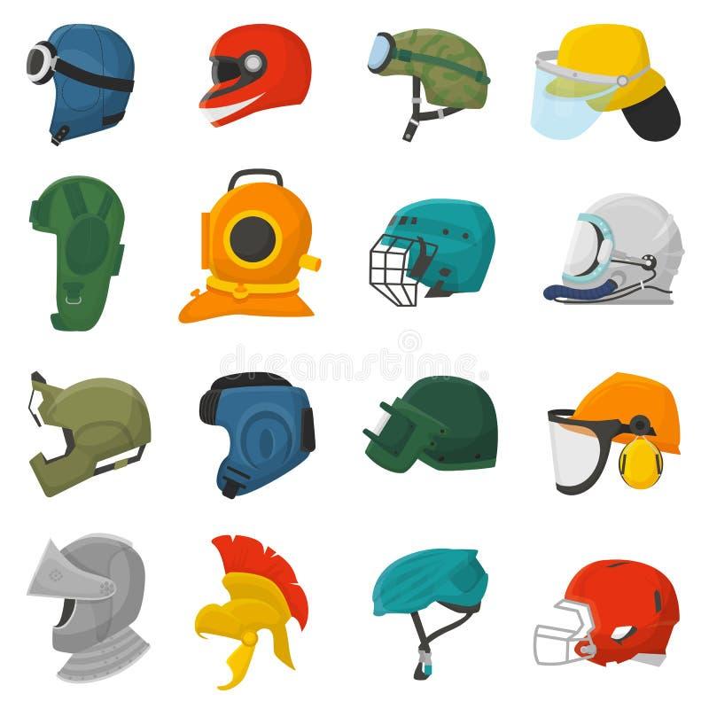 Skydd för utrustning för hjälmvektorroder eller uppsättning för illustration för säkerhetshuvudbonad skyddande head av motorcykel vektor illustrationer