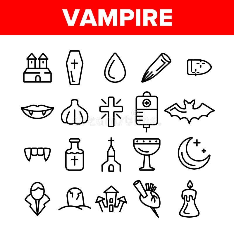 Skydd från uppsättning för symboler för vampyrvektor linjär stock illustrationer