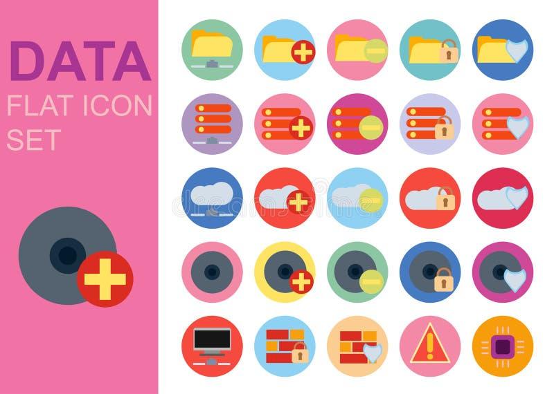 Skydda designen för illustrationen för vektorn för symboler för teknologi för den universella lägenheten för data den fastställda vektor illustrationer