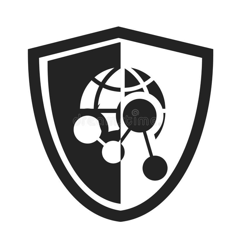 Skydda det symbolsvektortecknet och symbolet som isoleras på vit bakgrund, sköldlogobegrepp stock illustrationer