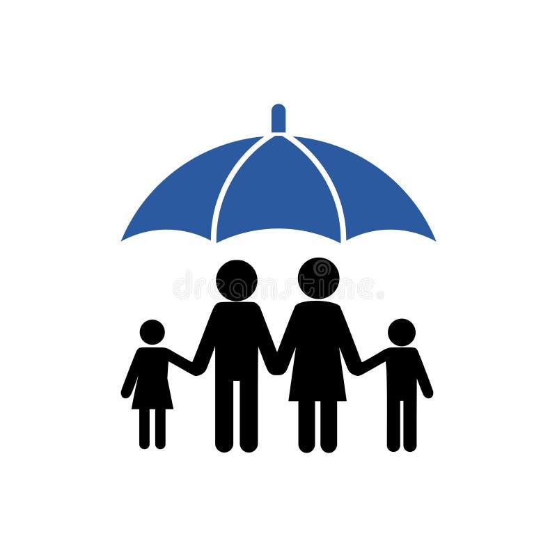 Skydda din familj, paraplysymbol royaltyfri illustrationer