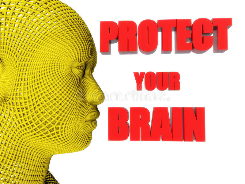 Skydda din hjärntext stock illustrationer
