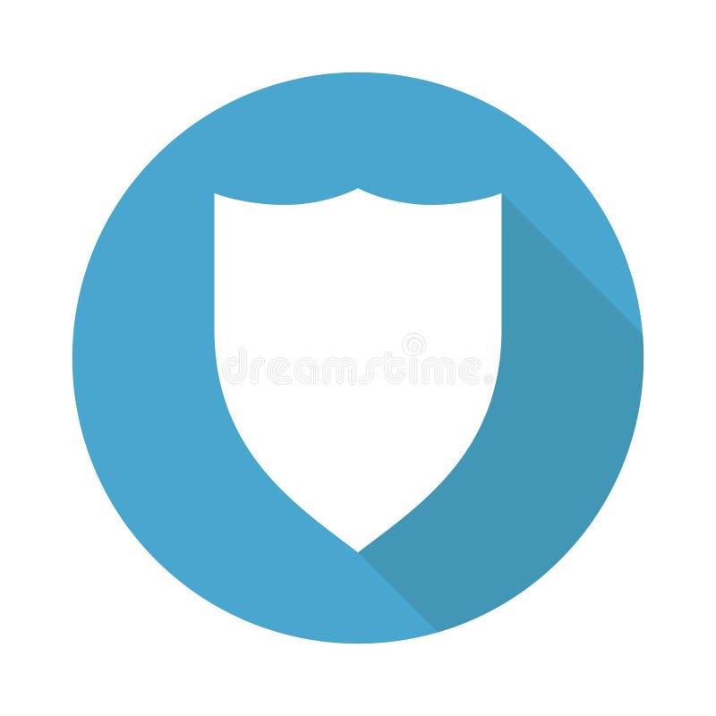 Skydda isolerad vektorikon med skugga på blå cirkelbakgrund Säkerhetsskydd Tom knappbricka Skyddsemblem royaltyfri illustrationer