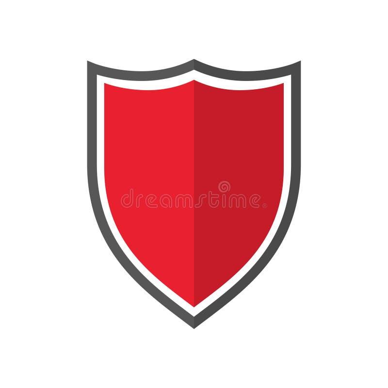 Skydda isolerade element med skugga på vit bakgrund Säkerhetsskydd Tom knappbricka Skyddsemblem vektor illustrationer