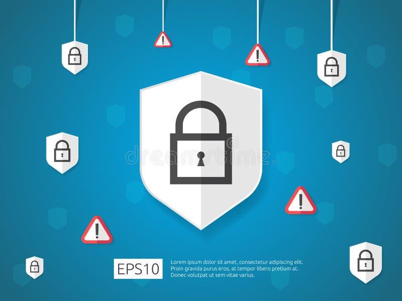 skydda och larma linjen symbolen, begrepp för baner för internetVPN säkerhet stock illustrationer