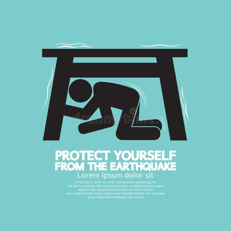 Skydda sig från jordskalvet royaltyfri illustrationer