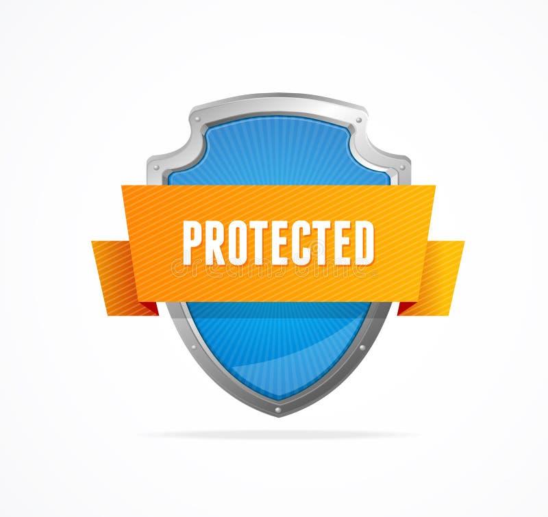 Skydda skölden på vit bakgrund royaltyfri illustrationer