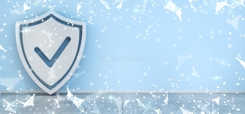 Skydda symboler i inre med tolkningen för anslutningar 3D royaltyfri illustrationer