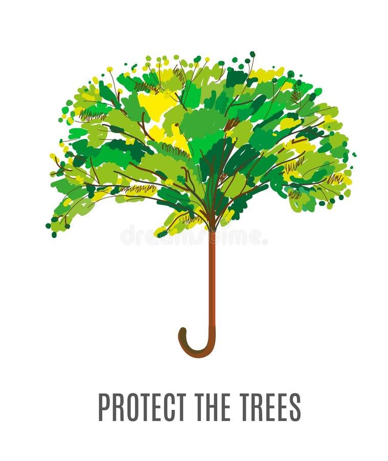 Skydda träden och miljöillustrationen med paraplyet, knapphändig design royaltyfri illustrationer