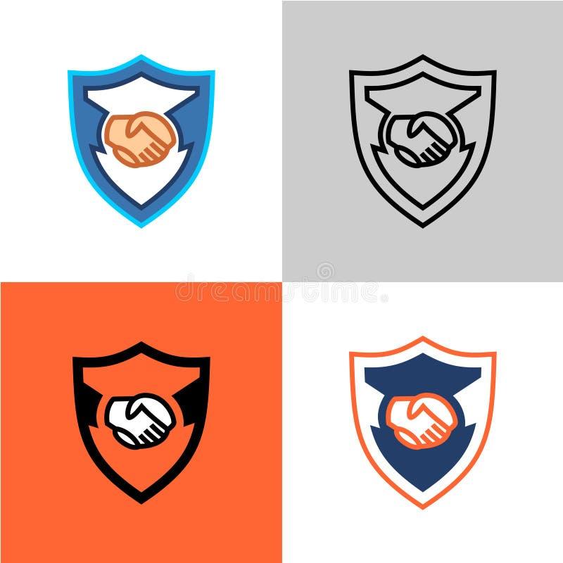 Skyddad avtalssymbol Två händer i handskakning stock illustrationer