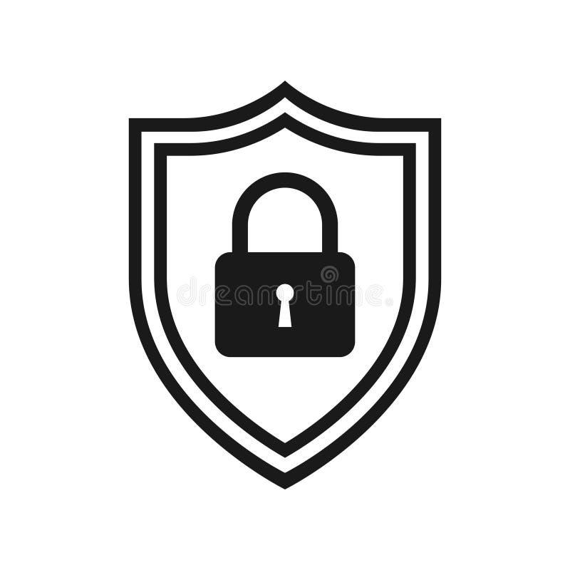Skyddad grafisk svartvit symbol för internet vektor illustrationer