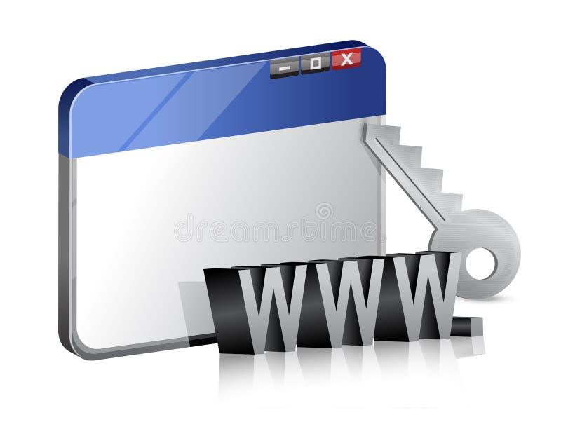 Skyddad internetwebbläsare royaltyfri illustrationer