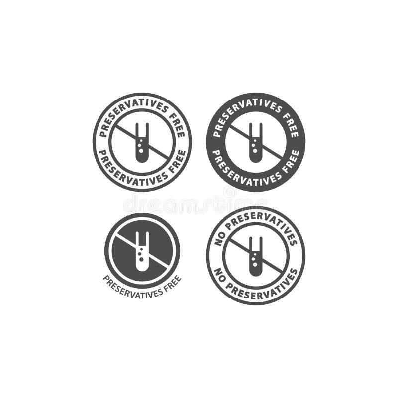 Skyddande fri och ingen för preservativesingredienscirkel för etikett för symbol uppsättning stock illustrationer