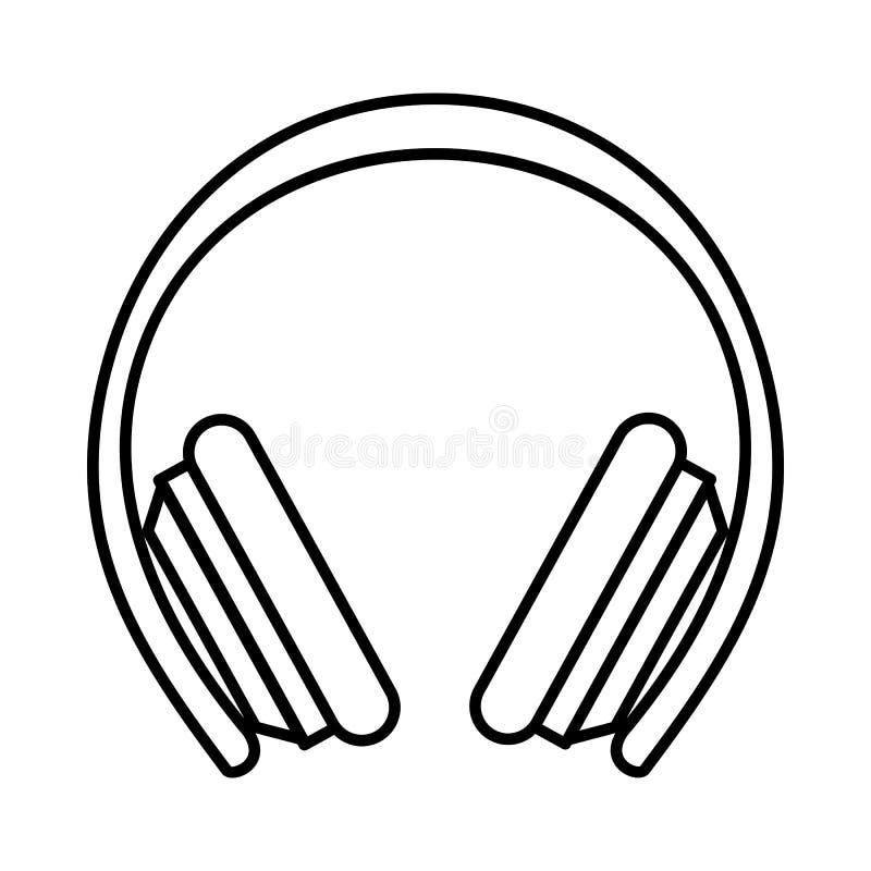 Skyddande hörlurarsymbol, översiktsstil stock illustrationer