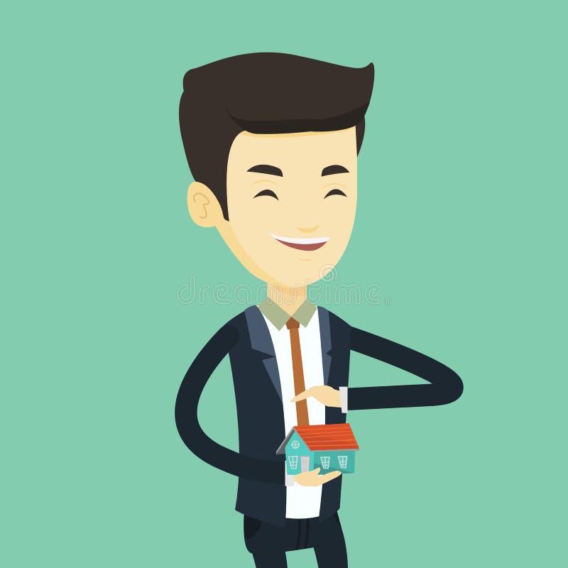 Skyddande modell för försäkringmedel av huset royaltyfri illustrationer