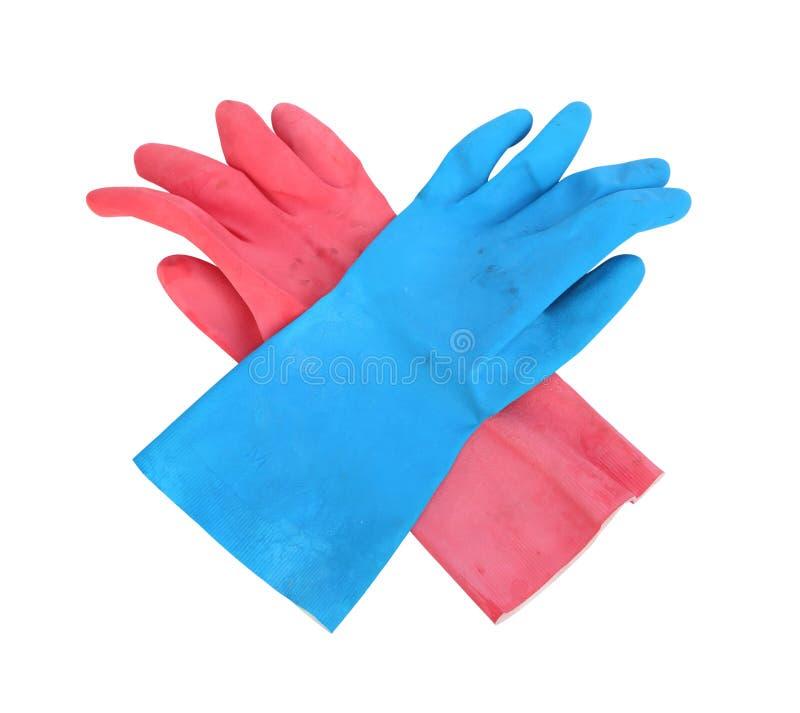 Skyddande rubber handskar för hushåll som isoleras på vit bakgrund royaltyfria foton