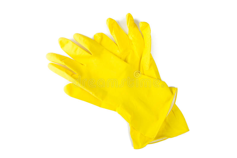 Skyddande rubber handskar som isoleras på vit bakgrund arkivbild