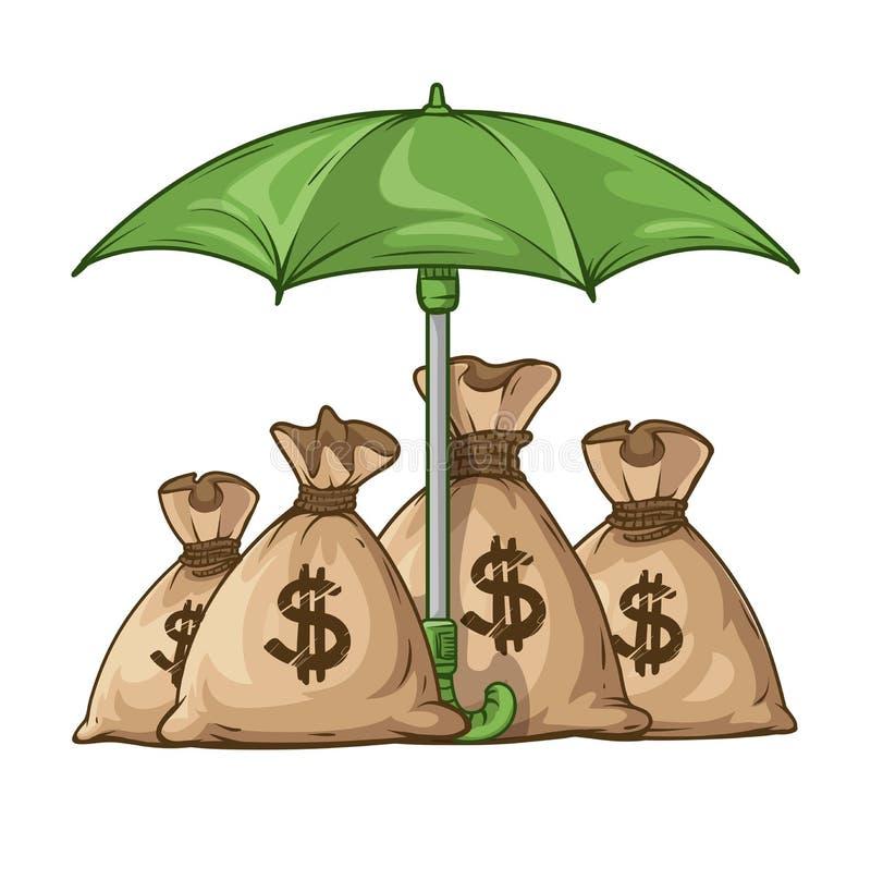 Skyddande säckar för paraply med pengarvalutaeuro stock illustrationer