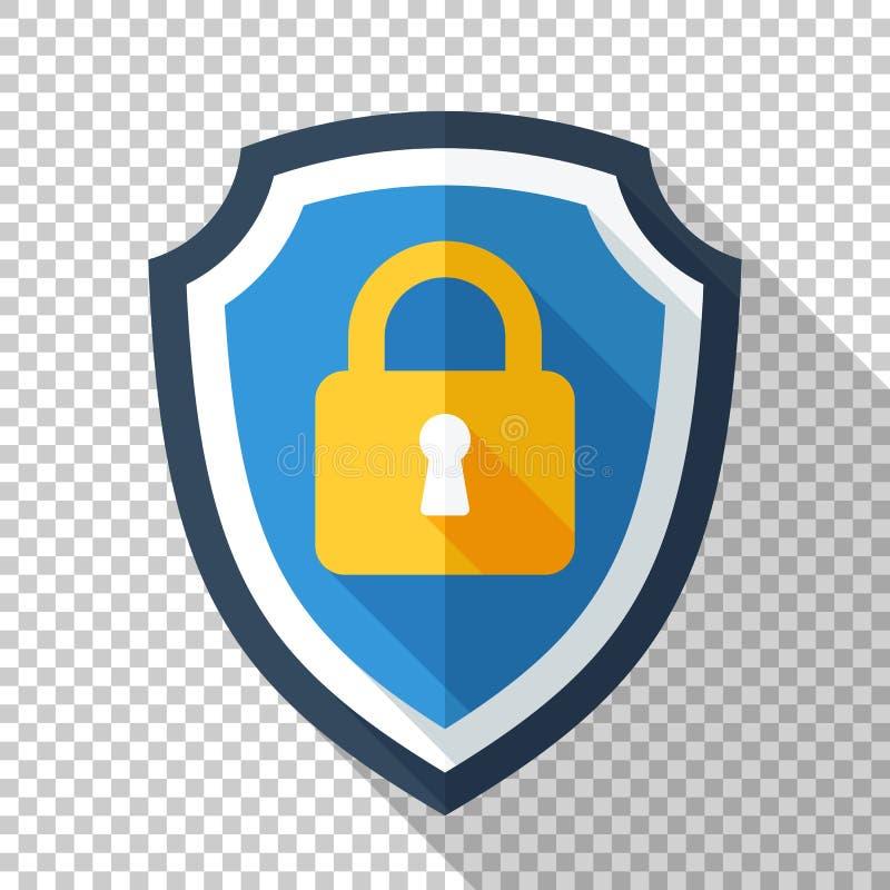 Skyddande sköld med den låsta hänglåssymbolen i plan stil på genomskinlig bakgrund stock illustrationer
