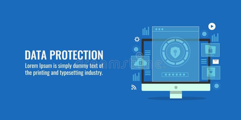 Skyddande sköldvisning på datorskärmen, datorhallsäkerhet, cyberskyddssystem Plant designvektorbaner stock illustrationer