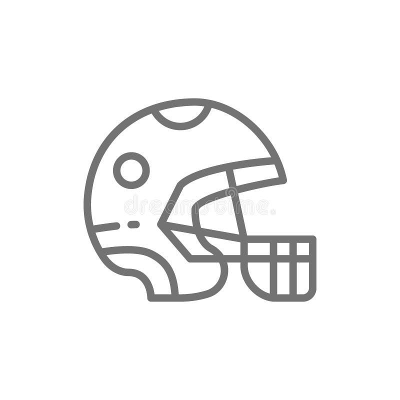 Skyddande sporthjälm, linje symbol för modig utrustning stock illustrationer