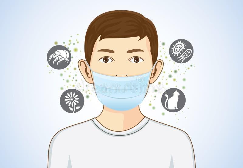 Skyddar den bärande andedräktmaskeringen för pojken för allergiskt royaltyfri illustrationer