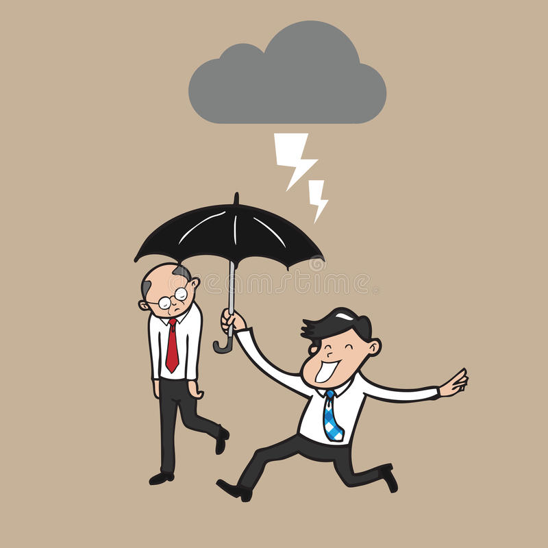 Skyddar det hållande paraplyet för affärsmannen framstickandet från strom royaltyfri illustrationer