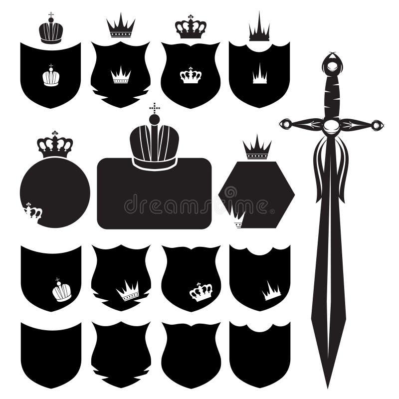 skyddar svärd royaltyfri illustrationer