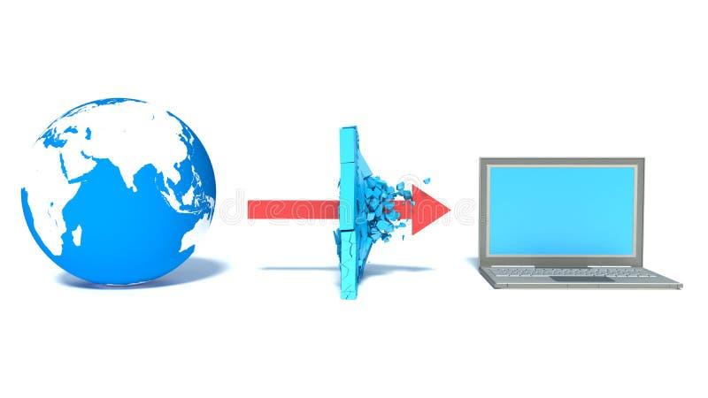 Skyddat globalt nätverk internet royaltyfri illustrationer