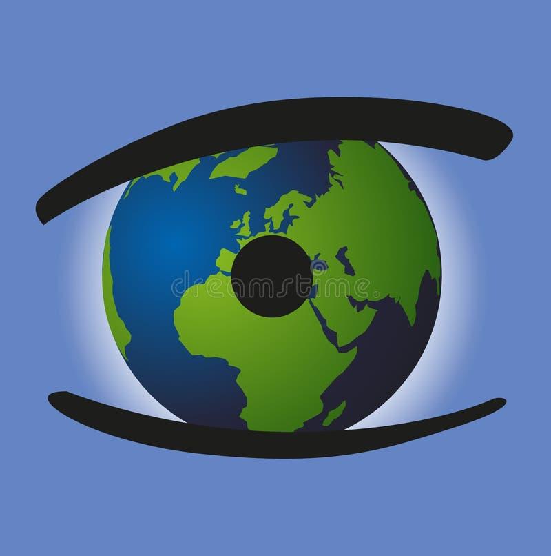 Skyddet av miljön med symbolet av ett öga vars elev är jorden stock illustrationer