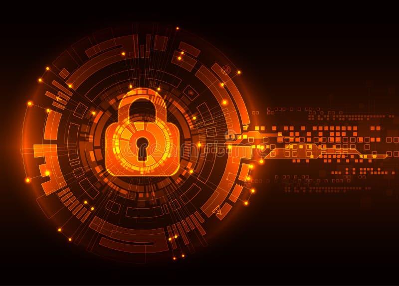 Skyddsbegrepp av digitalt och teknologiskt Skydda mechanien stock illustrationer