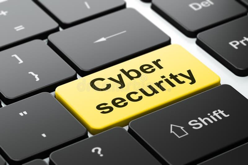 Skyddsbegrepp: Cybersäkerhet på bakgrund för datortangentbord royaltyfri illustrationer