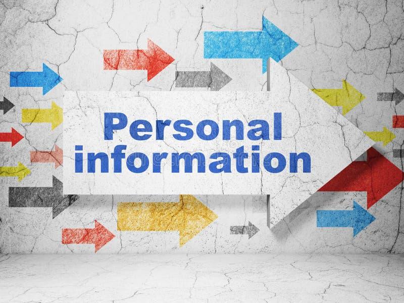 Skyddsbegrepp: pil med personlig information på grungeväggbakgrund royaltyfri illustrationer