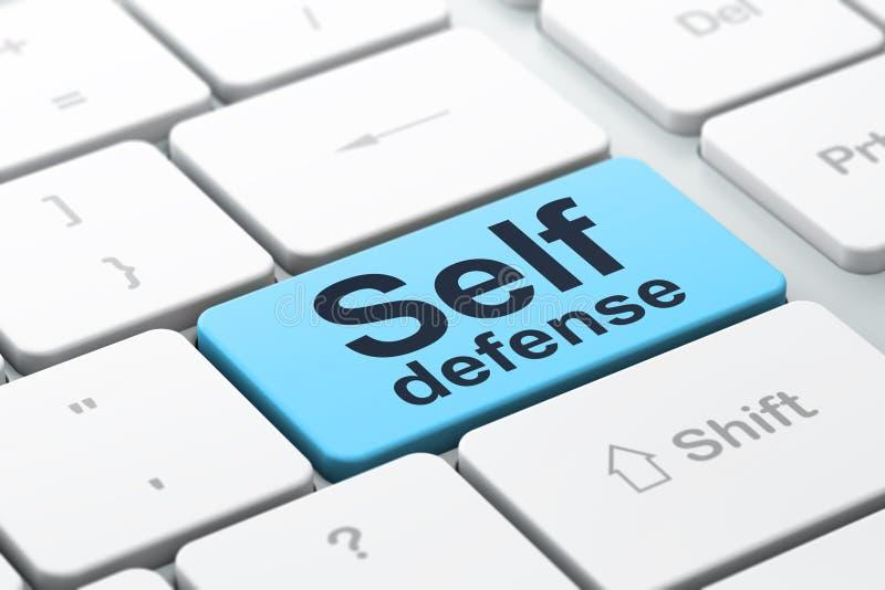 Skyddsbegrepp: Självförsvar på bakgrund för datortangentbord royaltyfria bilder