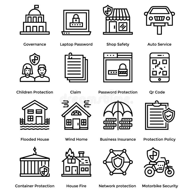 Skyddslinje symbolsuppsättning vektor illustrationer