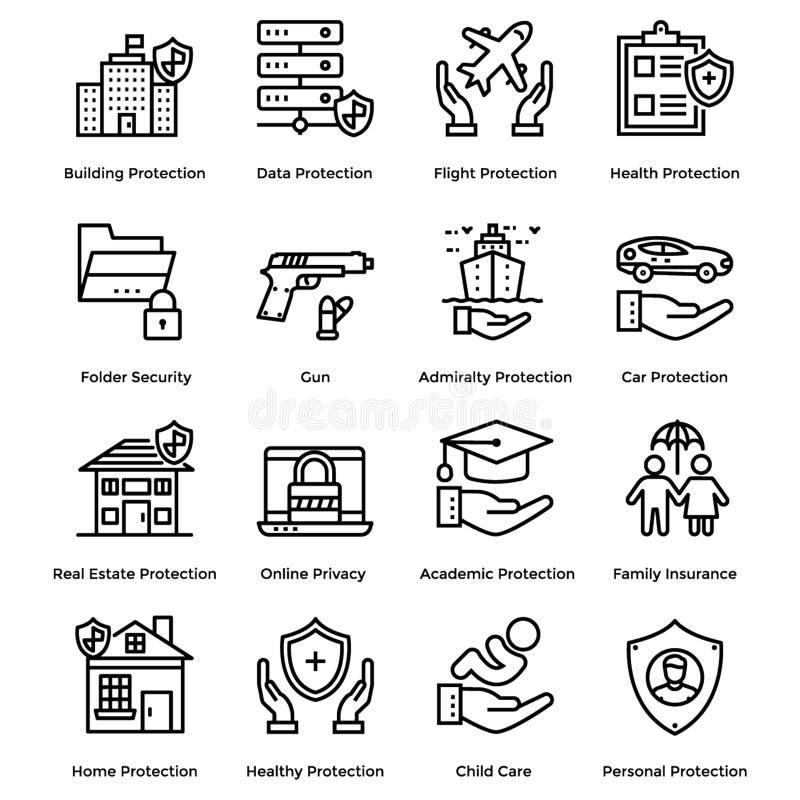 Skyddslinjen symboler packar royaltyfri illustrationer