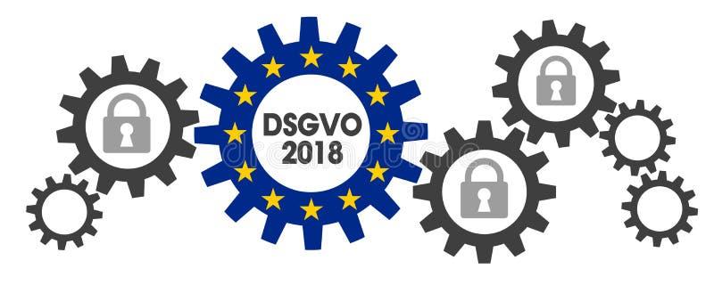 Skyddsreglering GDPR DSGVO för general data royaltyfri illustrationer