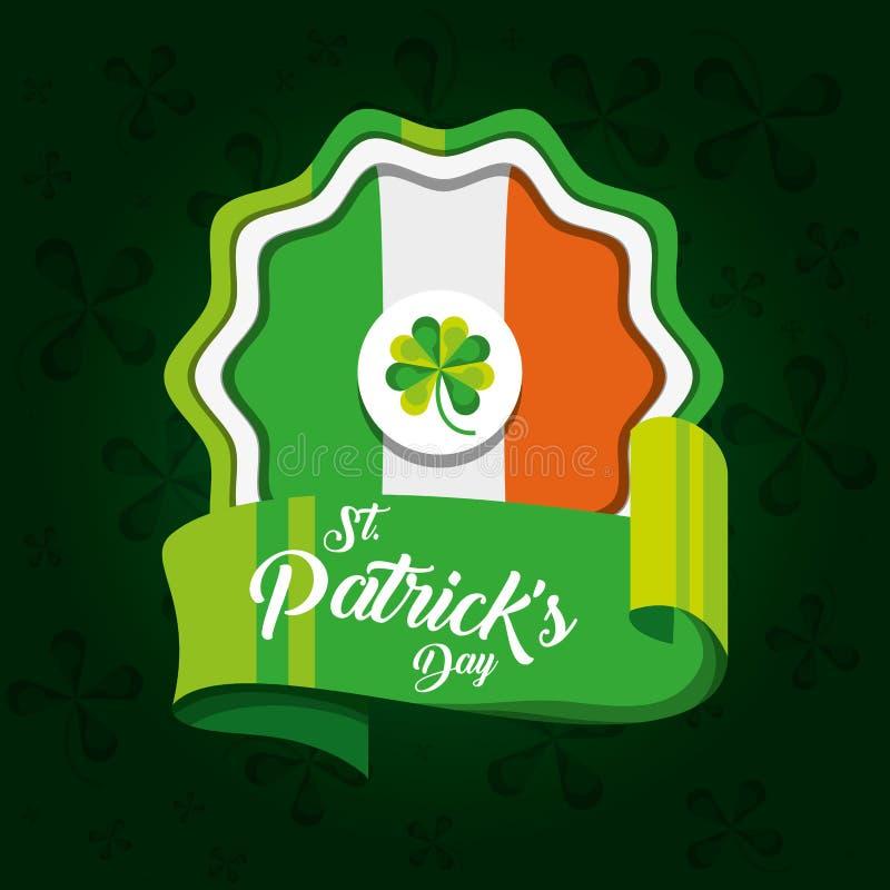 Skyddsremsa av den St Patrick dagen med flaggan royaltyfri illustrationer