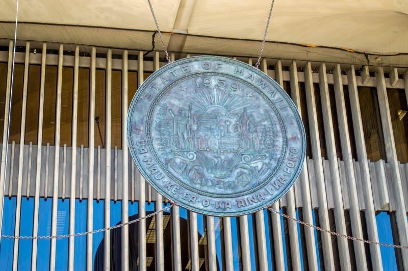 Skyddsremsa för Hawaii statKapitolium arkivbild
