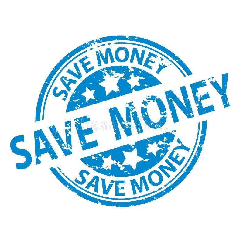 Skyddsremsa för Rubber stämpel - spara pengar - vektorillustration - som isoleras på vit royaltyfri illustrationer