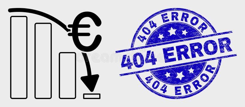 Skyddsremsa för stämpel för symbol för diagram för kris för vektoröversiktseuro och för nödläge 404 fel stock illustrationer