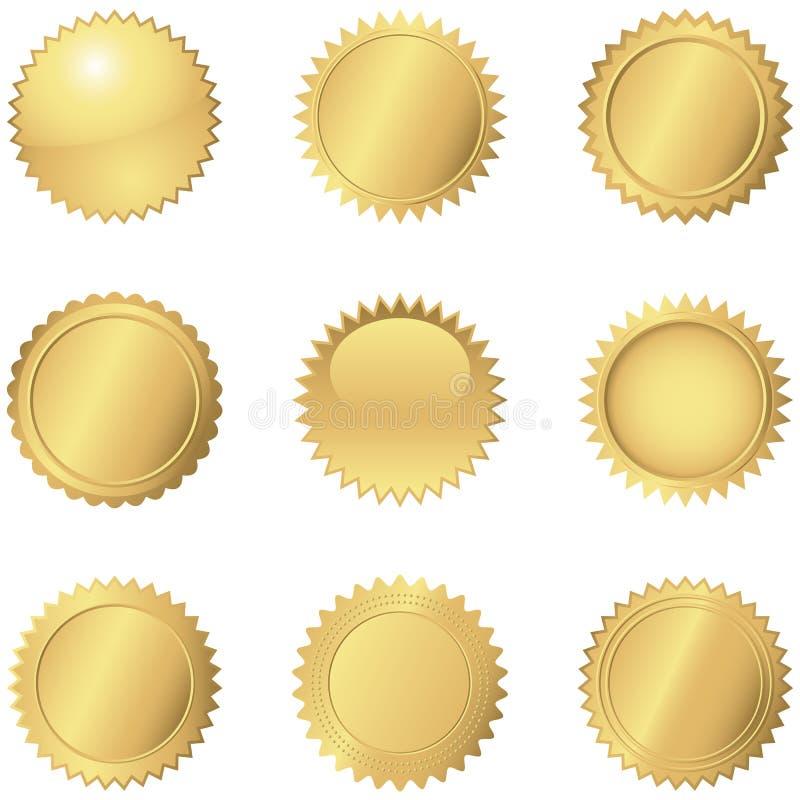 skyddsremsan för kvalitet för produkten för livstid för godkännandeguld förseglar den höga garantien vektor illustrationer