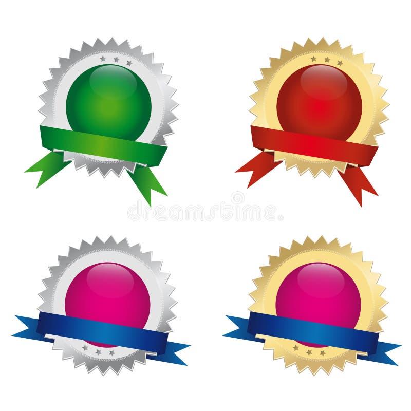Skyddsremsor eller utmärkelser stock illustrationer