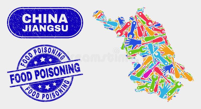 Skyddsremsor för förgiftning för mat för översikt och för nödläge för hjälpmedelJiangsu landskap stock illustrationer