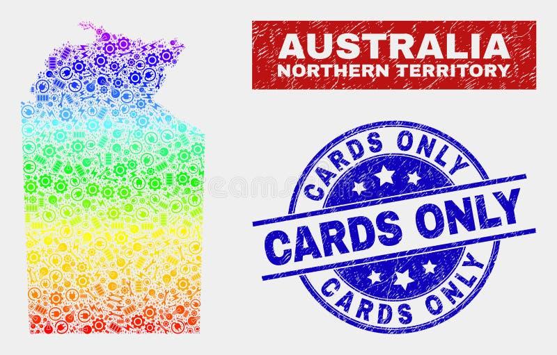 Skyddsremsor för kort för översikt och för nödläge för nordligt territorium för spektrumproduktivitet australiska endast vektor illustrationer