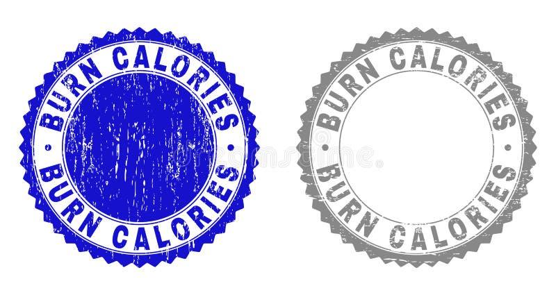 Skyddsremsor för stämpel för GrungeBRÄNNSKADA KALORIER texturerade vektor illustrationer