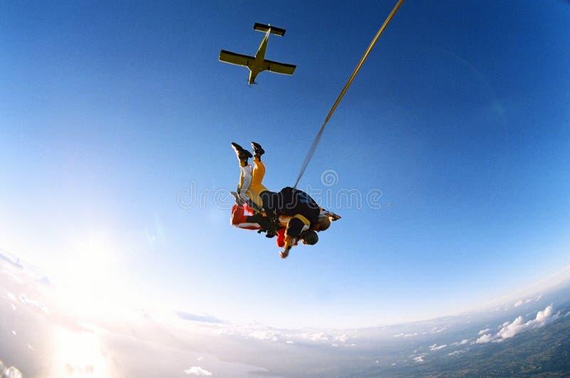 Skydive achter elkaar royalty-vrije stock foto