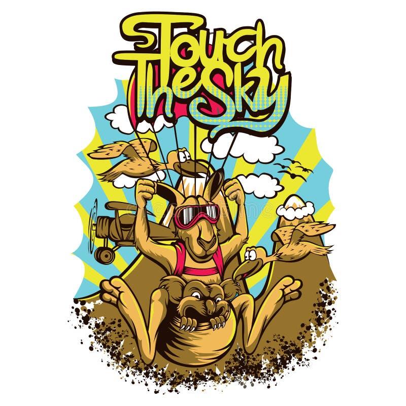 Skydive Kangaroo. T-shirt or poster print design royalty free illustration