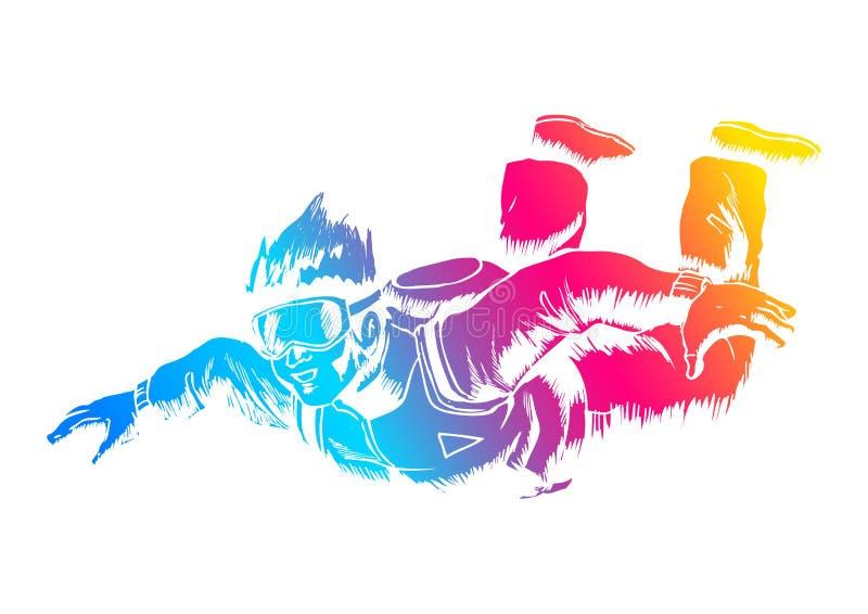 skydiver ελεύθερη πτώση με αλεξί& απεικόνιση αποθεμάτων