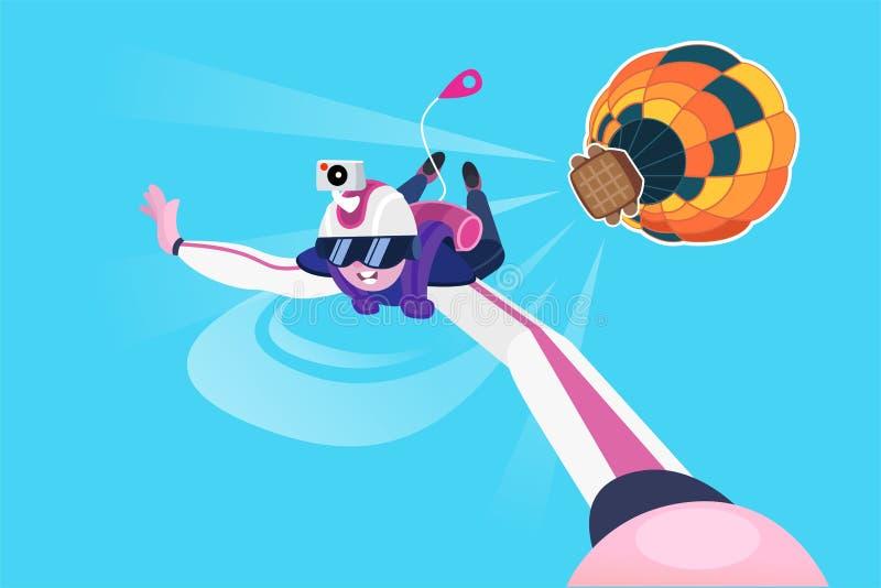 Skydiver που πετά το ελεύθερο φθινόπωρο διανυσματική απεικόνιση